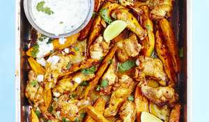 Spicy Chipotle Chicken Wings with Sweet Potato Wedges, Coriander and Lime Yogurt