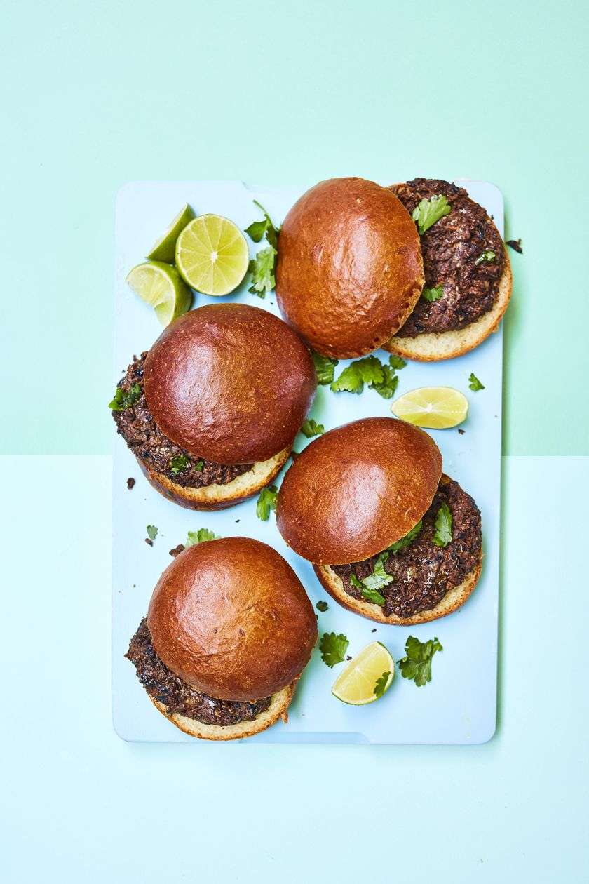 Rukmini Iyer Chipotle Mushroom and Black Bean Burgers with Peanut and Lime | Easy Vegan Barbecue Recipe