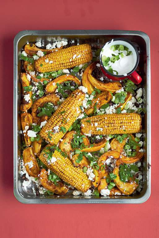 Chipotle Roasted Sweetcorn with Squash, Black Beans, Feta and Lime