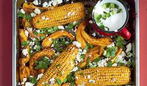 Chipotle Roasted Sweetcorn with Squash, Black Beans, Feta and Lime Recipe