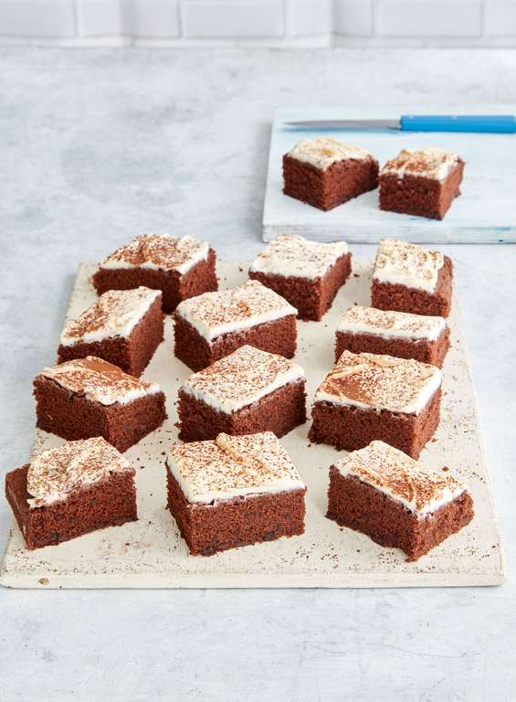 Mary Berry's Chocolate Chip Traybake with Vanilla Mascarpone Icing