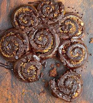Chocolate Cinnamon Rolls from the Molly Bakes Chocolate cookbook