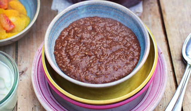 Chocolate Porridge Greek Yoghurt Fresh Seasonal Fruit The Happy