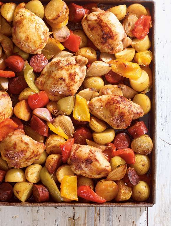 Chicken, Potato, and Chorizo Traybake
