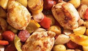 Chicken, Potato, and Chorizo Traybake | Budget Recipe