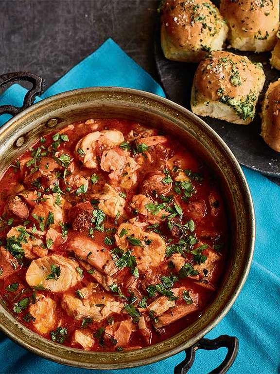 Nadiya Hussain's Chorizo Fish Stew with Garlic Bread