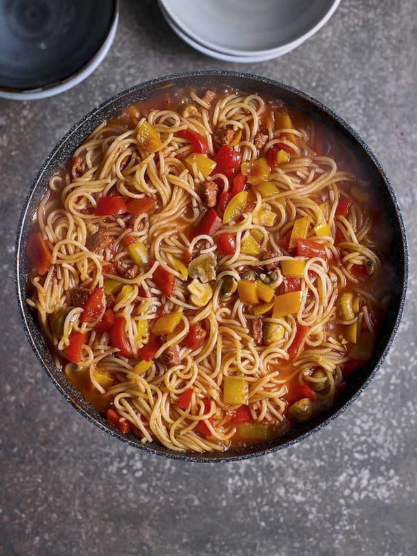 easy recipes for christmas period one pot chorizo spaghetti eat well for less