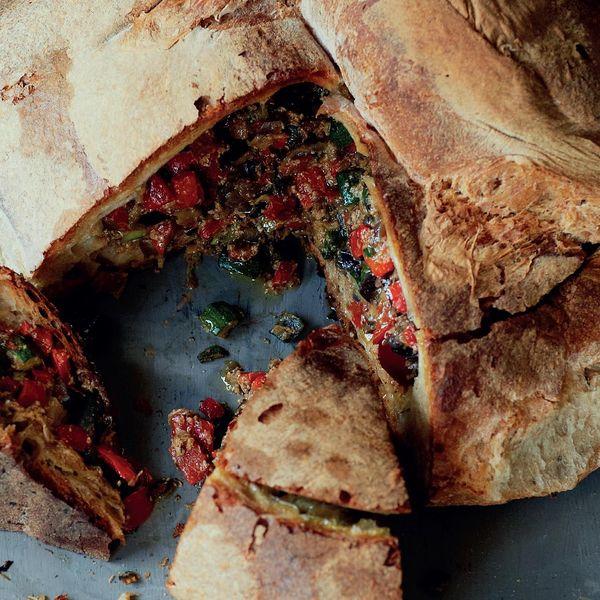 Ciambotta Di Verdure Pan Fried Vegetables Served In Bread The Happy Foodie