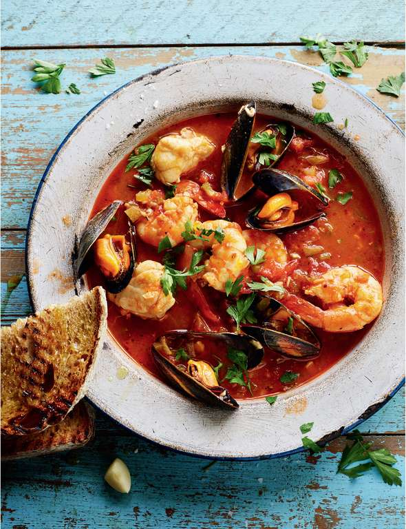 Monkfish, Mussel and Prawn Stew with Char-grilled Sourdough (Cioppino)