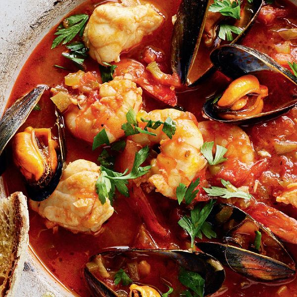 Rick Stein S Monkfish Mussel And Prawn Stew With Char Grilled Sourdough Cioppino