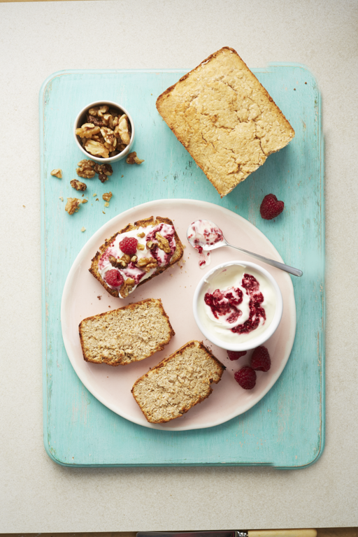 Sweet Coconut Loaf with Berry Coulis