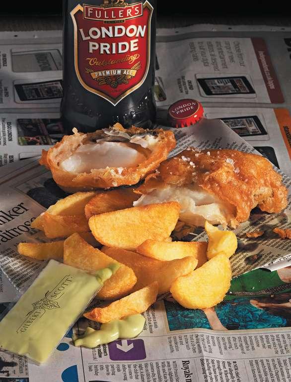 London Pride Battered Cod with Mushy Pea 'Mayonnaise'