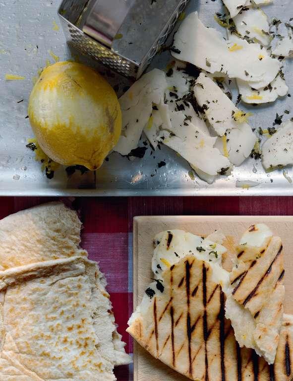 Lemon-Marinated Halloumi in Pitta