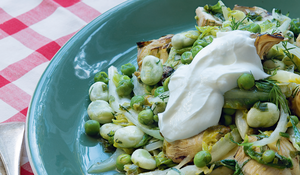 Warm Salad of Artichokes Broad Beans and Peas