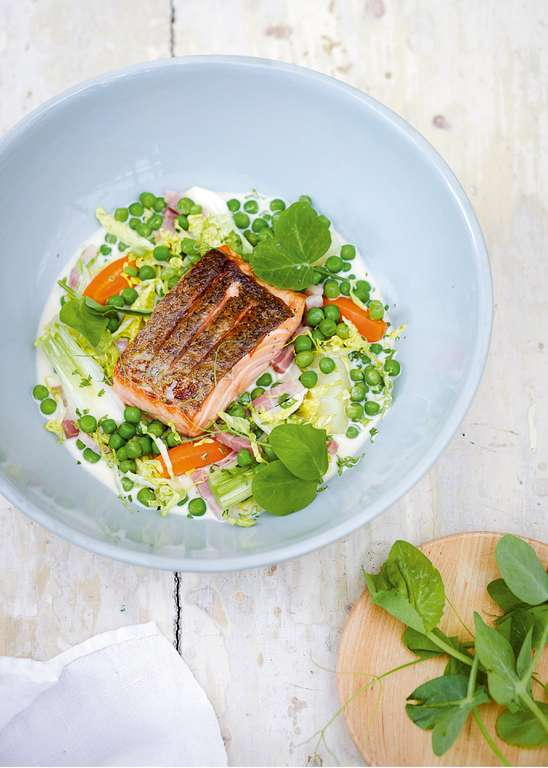 Roast Salmon, Peas, Bacon and Braised Little Gem