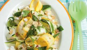 Yellow and Green Courgettes with Feta, Mint and Almonds