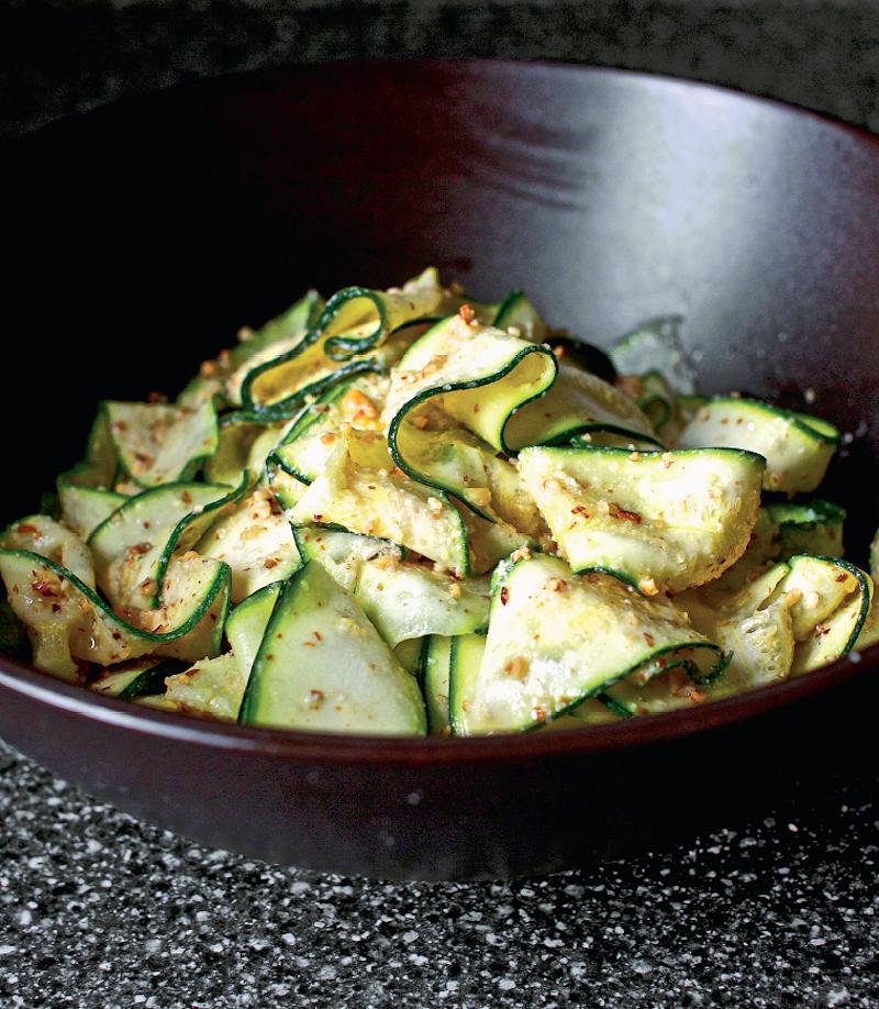 eat the seasons summer recipes courgette ribbon salad almond pesto smitten kitchen cookbook