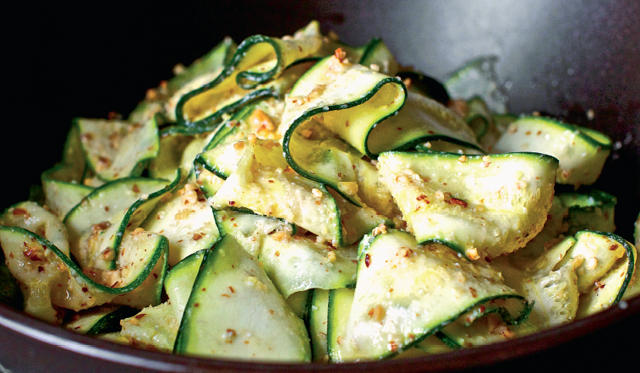 Courgette Ribbons With Almond Pesto The Happy Foodie