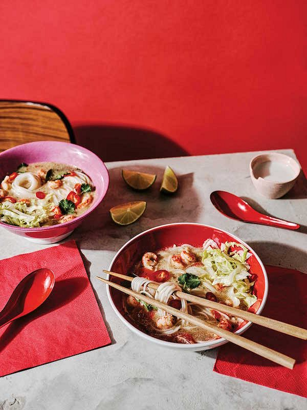 Creamy Tom Yum Noodle Soup with Crayfish Tails from The Noodle Cookbook