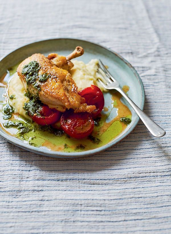 Main: Crispy Chicken with Tomatoes & Roast Garlic Mash from A Love of Eating: Recipes from Tart London