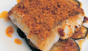 Hake with Romesco Crust