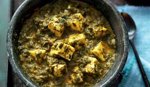 Spinach with Fresh Indian Cheese (Saag Paneer)