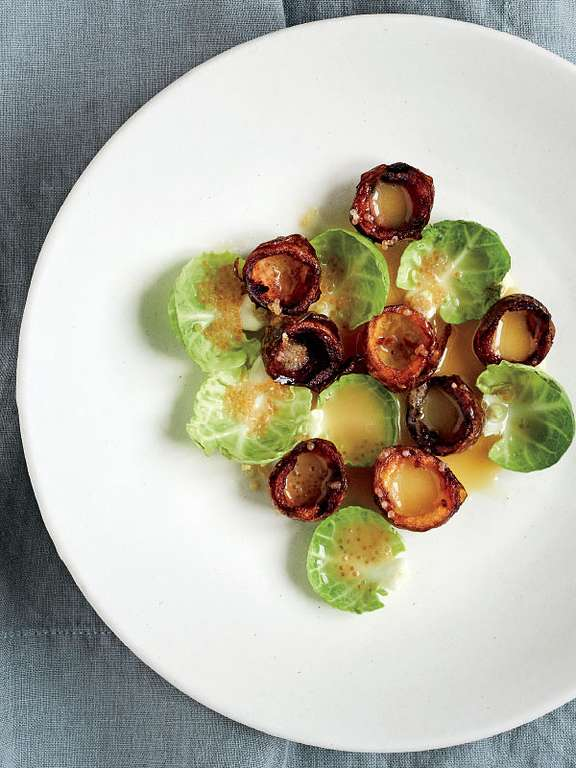 Brussels Sprouts and Potato Cups with Beurre Blanc Sauce and Roe