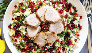 Egyptian Dukkah-Crusted Chicken Fillets with Cauliflower Tabbouleh