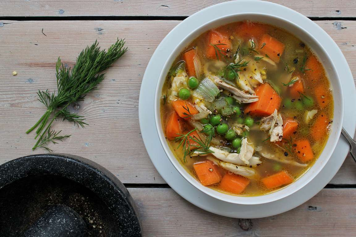 Shredded Chicken, Carrot & Dill Soup