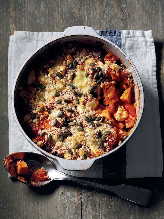 Sweet Potato and Pumpkin Seed Cheesy Bake