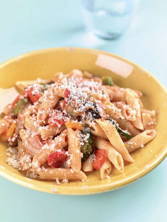 Penne with Roasted Veg and Tomato