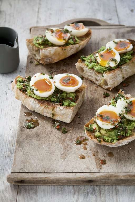 Rosemary Shrager's Soft-boiled Eggs with Chimichurri and Avocado on Ciabatta