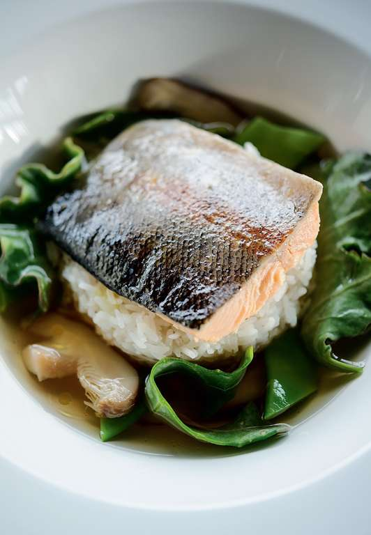 Trout with Kelp, Shiitake Mushrooms Stock, Rice, Flat Beans and Sea Kale
