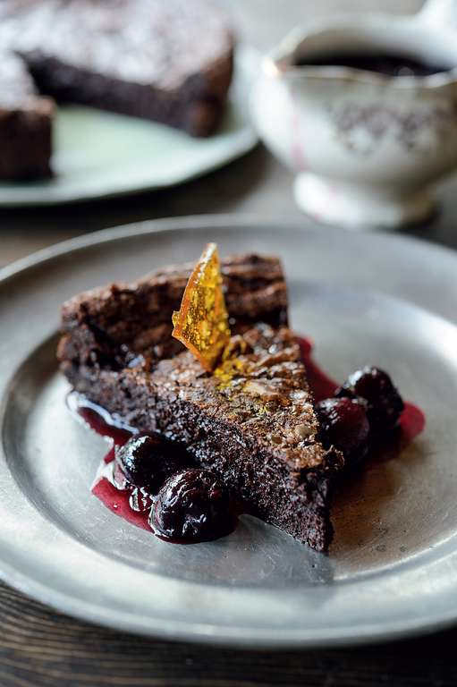 Chocolate and Salt Caramel Brownies with Cherry and Elderflower Sauce