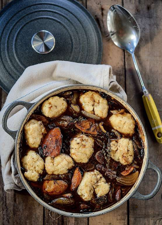 Venison, Cider and Quince Stew with Herbed Butter Dumplings