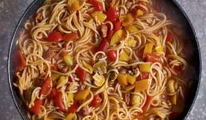 Eat Well For Less One Pot Chorizo and Pepper Spaghetti Recipe