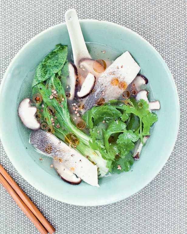 Sea Bass, Baby Pak Choy and Coriander Soup