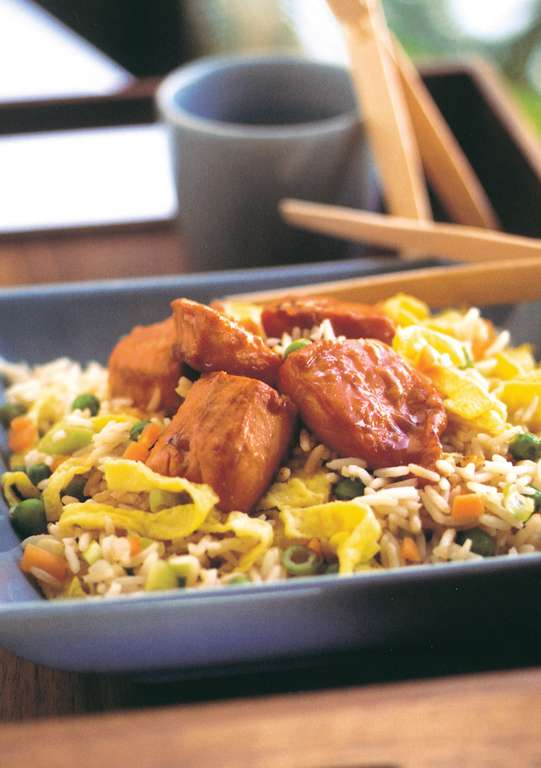 Sticky salmon and Chinese fried rice