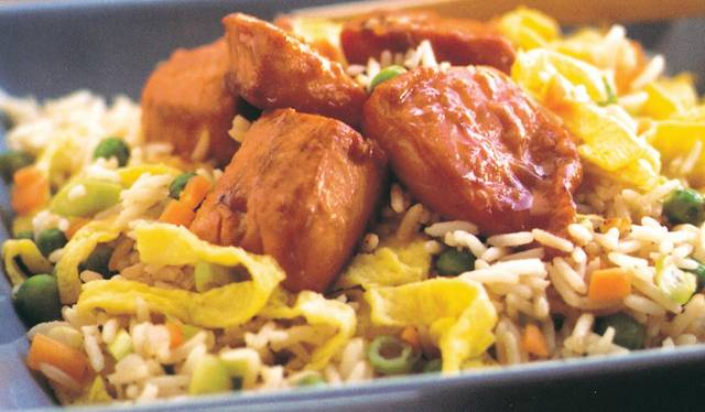 Sticky salmon and chinese fried rice the happy foodie sticky salmon and chinese fried rice ccuart Gallery