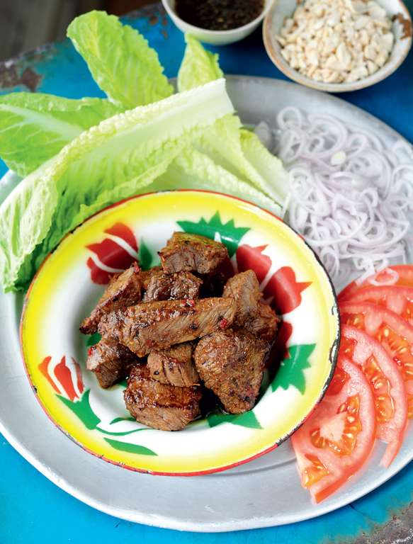 Cambodian Marinated Beef with a Lime and Black Pepper Dipping Sauce (Loc lac)