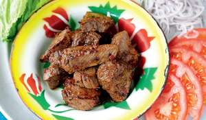 Cambodian Marinated Beef with a Lime and Black Pepper Dipping Sauce