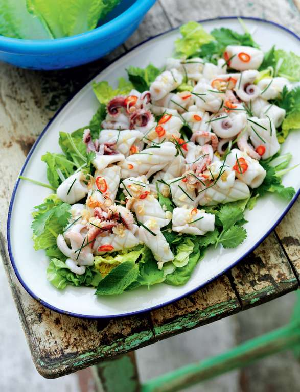 Hot and Sour Squid Salad with Chilli, Lime Leaf, Mint and Coriander (Yam pla muk)