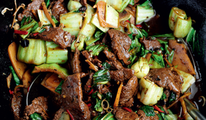 Stir-Fried Beef with Black Beans, Chinese Greens and Bamboo Shoots