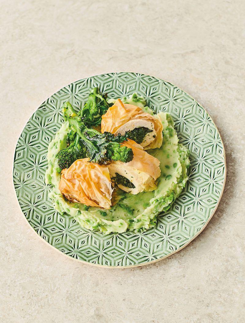 7 dinners from jamie oliver 7 ways filo chicken kiev sweet pea potato mash