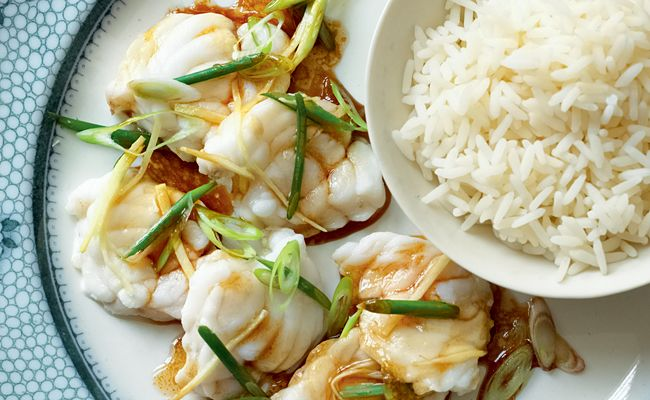 Steamed Monkfish with Wild Garlic and Ginger