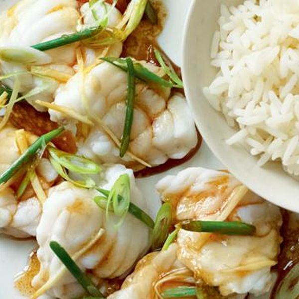 Steamed monkfish wild garlic ginger rick stein fish recipes a chinese inspired seafood dish from rick stein this fragrant fish recipe is made with delicate steamed monkfish with added ginger sesame oil and soy forumfinder Choice Image