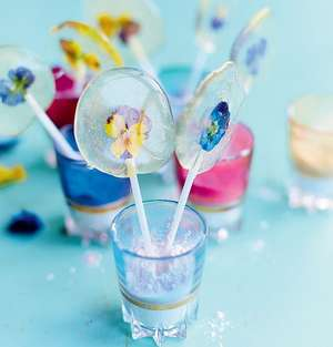 Meringue Girl's Edible Flower Lollipops with Sexy Sherbet