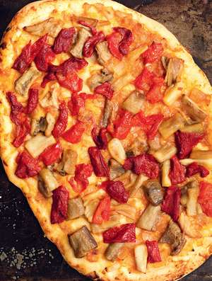 Open Pie with Roasted Peppers and Aubergines (coca de recapte)