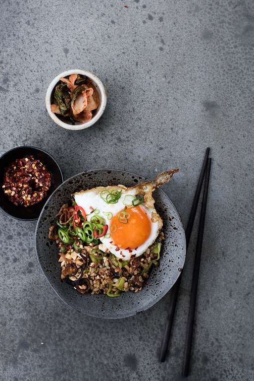 Fried Brown Rice with Brussels Sprouts, Fried Eggs, Greens and Chilli