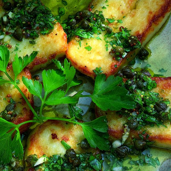Fried Halloumi Cheese With Lime And Caper Vinaigrette The Happy Foodie